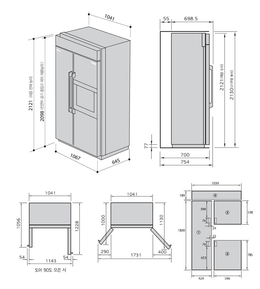 홈바형 빌트인 냉장고 R-L731JCF